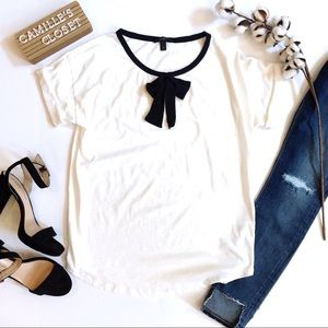 J. Crew Roll-Sleeve T-Shirt with Bow